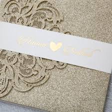 wedding invitations pocket luxury chagne gold glitter tri fold pocket wedding invitation