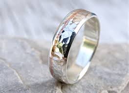 unique wedding rings for buy a custom hammered silver wedding band with copper inlay