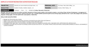 Warehouse Supervisor Resume Samples Outdoor Recreation Supervisor Cover Letter U0026 Resume