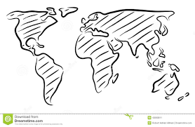 world map sketch stock vector image of continents planet 43560811