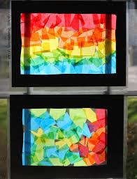 fun rainbow craft tissue paper suncatcher collages where