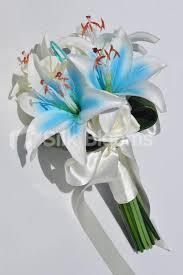 stargazer bouquet shop beautiful artificial blue stargazer and ivory