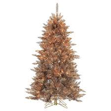 5ft pre lit artificial tree layered copper silver
