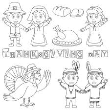 thanksgiving day pilgrim and indian coloring page kraftykid