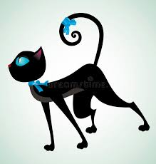 black and blue ribbon black cat with blue ribbon stock vector illustration of looking