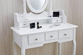 agtc0010 chaise pour coiffeuse blanc meuble miroir de chambre