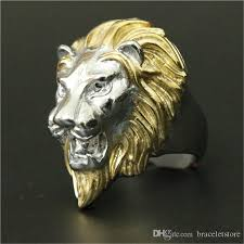 acrylic lion ring holder images New arrival cool golden lion head ring 316l stainless steel cool jpg
