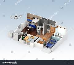 cutaway view smart house interior this stock illustration