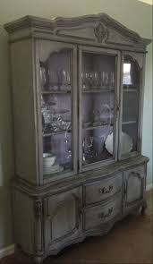 Home Made Cabinet - painted french provincial china cabinet gray and purple chalk