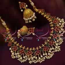 kerala earrings nl8430 kemp ruby green pearl jalar kerala design necklace