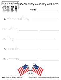 Noun Worksheet Kindergarten Kindergarten Memorial Day Vocabulary Worksheet Printable