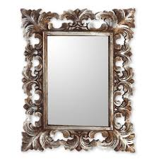 Wall Mirrors Hand Carved Wood Wall Mirror With Distressed Silver Finish Padma