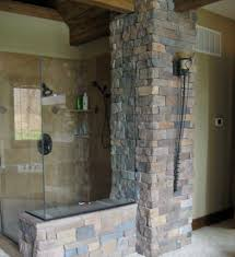 bathroom stunning bathroom design with stone wall and shower