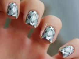 imagenes de uñas pintadas pequeñas silver grey plaid nails uñas pequeños lienzos pinterest