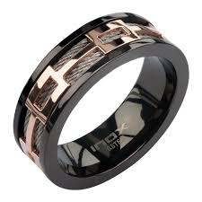 mens spinner rings 8mm ip black stainless steel cable spinner ring with ip gold