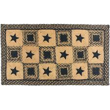 Primitive Country Area Rugs Country Star Rectangle Braided Rug Primitive Black And Tan Or Wine