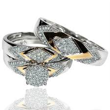 his and hers engagement rings sets his wedding rings set trio 14k white