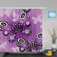 Purple Butterfly Curtains Purple Butterfly Designed Bathroom Shower Curtains Morden Grid