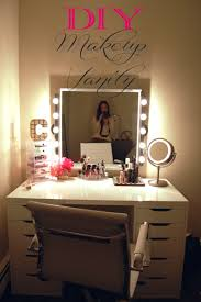 Diy Vanity Table Ideas Furniture White Waooden Vanity Table With Lighted Mirror With Six