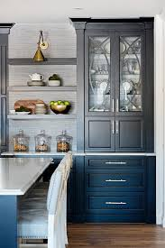 black china cabinet with long brushed brass pulls contemporary