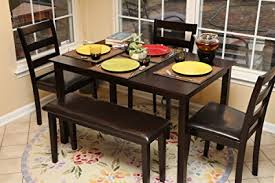 dining room table and bench set amazon com home life 5pc dining dinette table chairs bench set