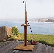 Exposed Outdoor Shower Fixtures - new solid eucalyptus wood outdoor shower portable pool rv boat
