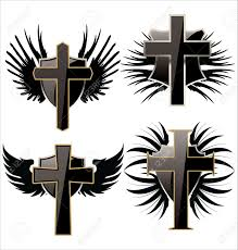 cross tatoo images cross on black shield with wings set royalty free cliparts