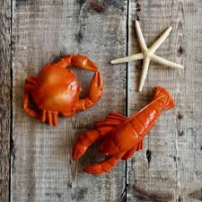 crab and lobster seaside ornaments by the nautical home