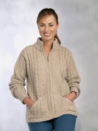 aran crafts irish aran wool sweater womens cable knit hip length