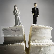 divorce cake toppers wedding cake visual metaphor with figurine cake toppers stock
