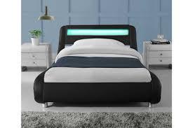 Black Single Bed Frame Madrid Led Lights Modern Designer Bed Black Faux Leather Single