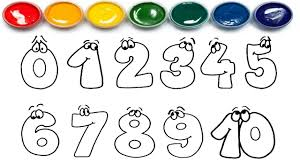 drawing numbers learn 0 to 10 coloring page learn colors