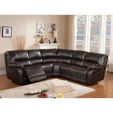 Power Sectional Sofa Regency Brown Top Grain Leather Motorized Power Reclining