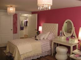 teen bedroom ideas with pink wall color using classic dressing