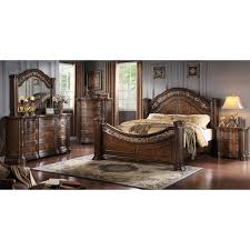 boulogne brown cherry finish wood bed room set king bed dresser