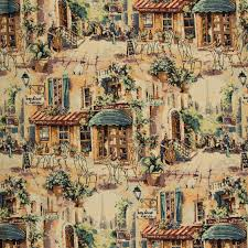 bistro eclectic cafe themed tapestry upholstery fabric
