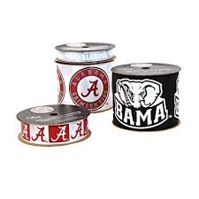 alabama ribbon offray of alabama crimson tide printed