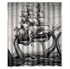 Sailboat Shower Curtains Awesome Kraken Shower Curtains Octopus Squid Bathroom Decor On