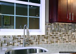 Brown Cabinets Glass Metal And Marble Backsplash Tile - Metal kitchen backsplash