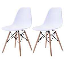 Mid Century Modern Plastic Chairs Dhp Mid Century Modern Molded Blue Chair With Wood Leg Set Of 2