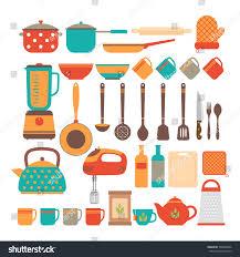 big set kitchen utensils home appliances stock vector 500804836
