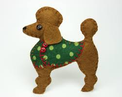 poodle christma ornament felt dog christma ornament felt christmas