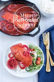 8 minute beet juice poached salmon a side of sweet