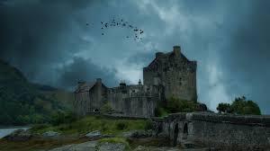 medieval flock birds wonderful old castle grass clouds bridge