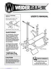 Weider Pro 240 Weight Bench Weider 215 Bench Manuals