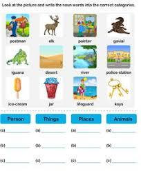 noun grade2 worksheet1 parts of speech worksheets pinterest