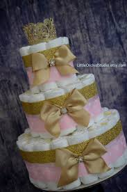 Unique Gift Ideas For Baby Shower - pink and gold baby shower princess diaper cake unique diaper