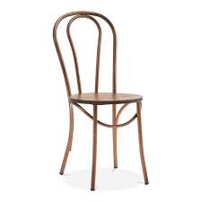 Copper Bistro Chair Thonet Style Metal Bistro Chair With Solid Wood Seat Copper