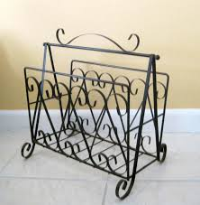 Wrought Iron Decorations Home mid century wrought iron magazine rack stand retro black metal