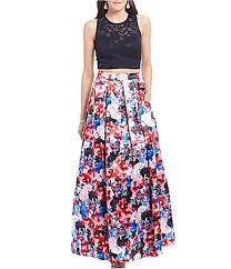 teeze me twopiece lace top floral skirt long dress dillards